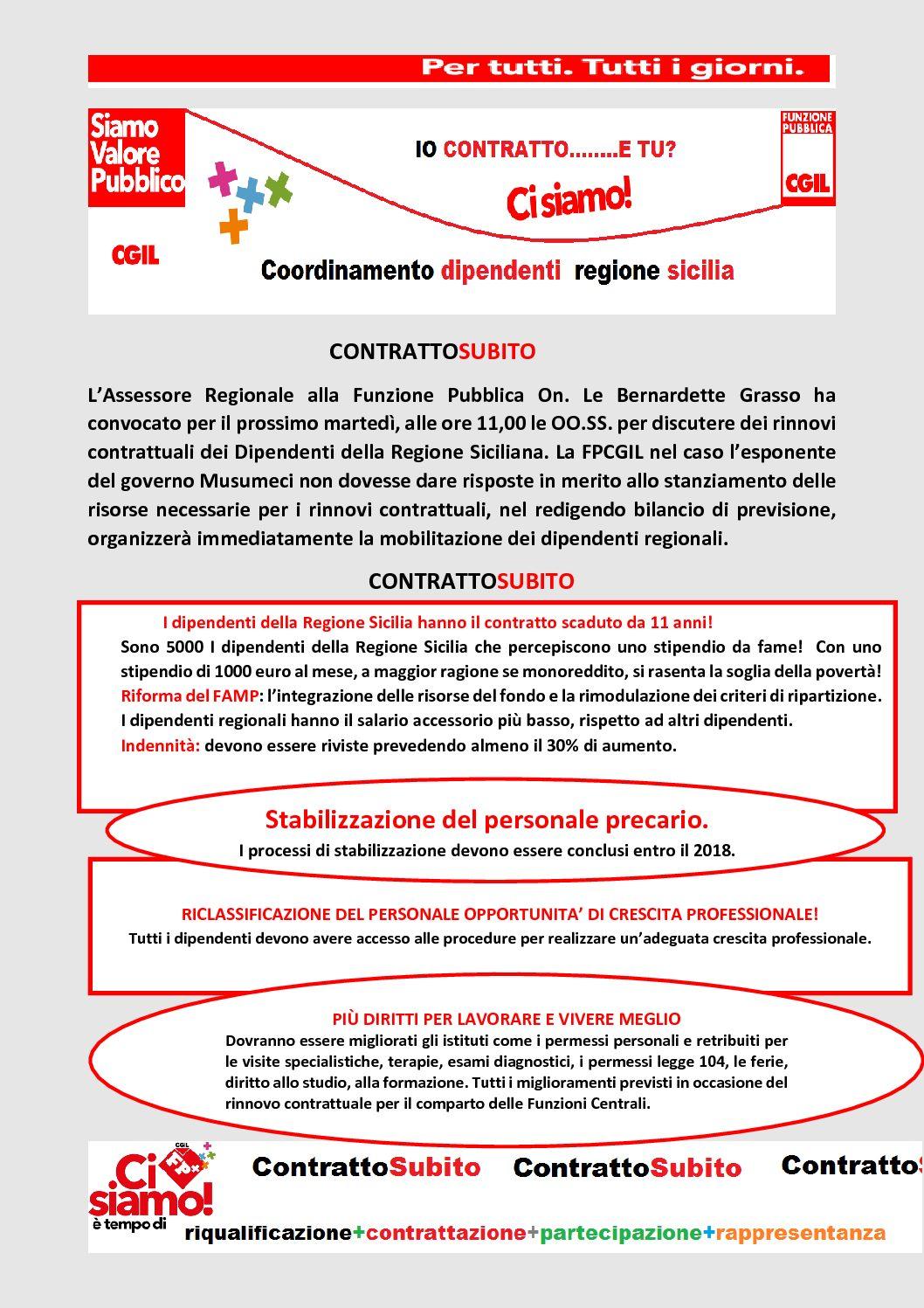 Dipendenti regione Sicilia – IO CONTRATTO…e TU ?