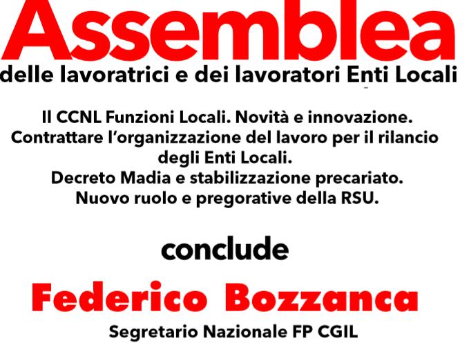 Messina – 16 marzo Assemblea  Enti Locali con Federico Bozzanca.