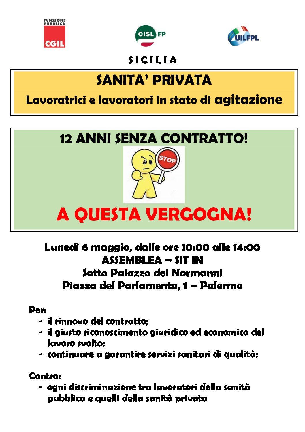 Contratto nazionale fermo da 12 anni, lavoratori della sanità privata in stato di agitazione: lunedì nuovo sit-in a Palermo