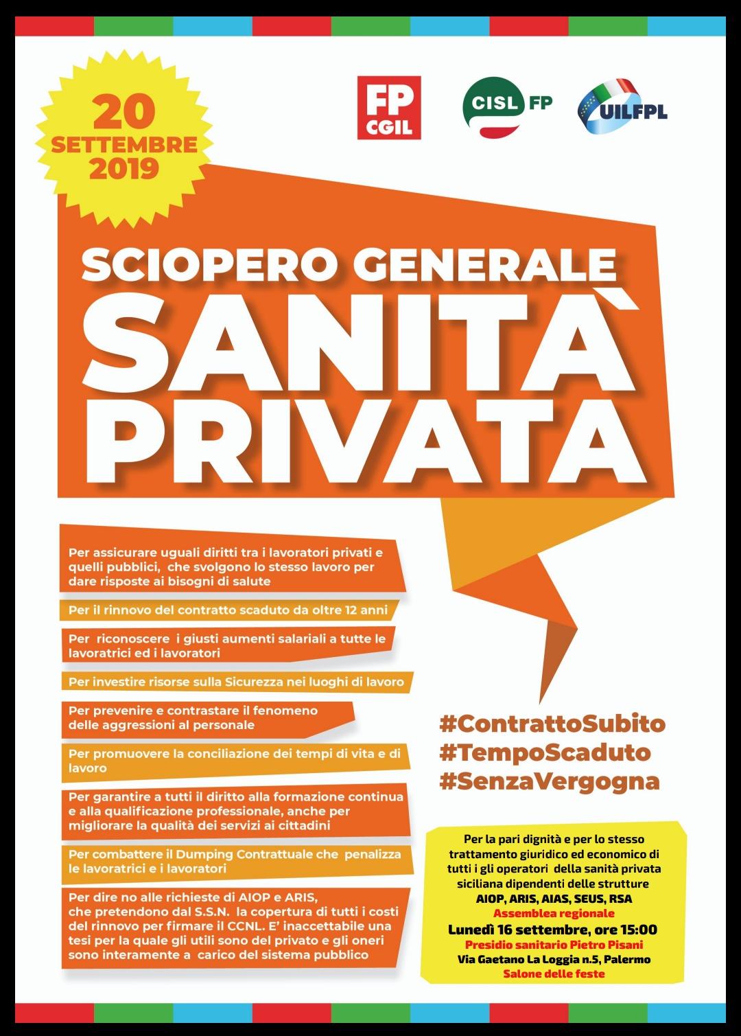 Rinnovo CCNL sanità privata: stallo nella trattativa con Aiop e Aris, domani a Palermo l'attivo unitario regionale in vista dello sciopero nazionale